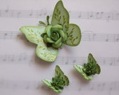Handmade Green Butterflies with Floral Accents