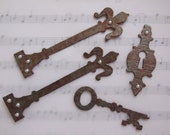 Aged Copper Hardware Findings Chipboard Pieces with Pearls
