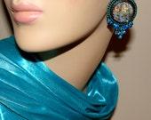 Russian Mermaid bead embroidery earrings