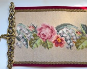 Vintage Embroidered Bell pull, Wall Hanging, Pink and Peach Garden Flowers