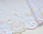 Pink and Wheat Embroidered Trim on White Tulle, Dress or Bridal Lace