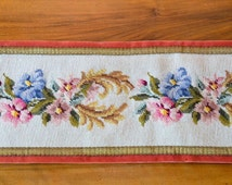 Vintage Embroidered Bell pull, Wall Hanging, Pink and Blue Garden Flowers
