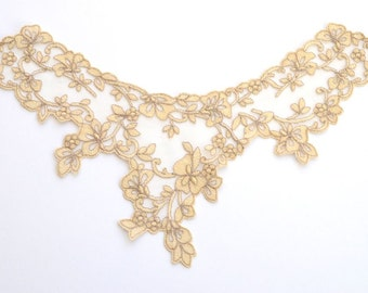 Champagne Lace Collar, Embroidered  Leaves  and Flowers on tulle
