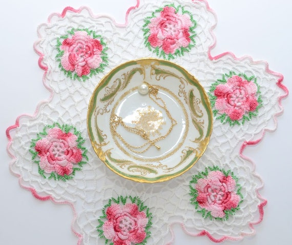 Reserved for TOMOKO, Vintage Doilie, Pink Roses on White, Hand Crochet