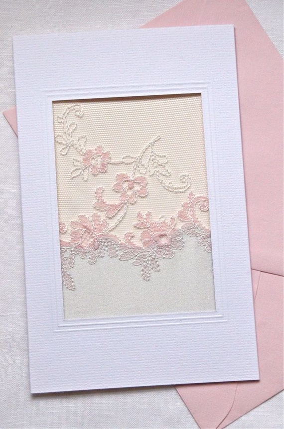 Pink and Silver Satin Lace Blank Card, Embroidered, Wedding, Special Occasion, Mothers Day, Friendship, Sympathy
