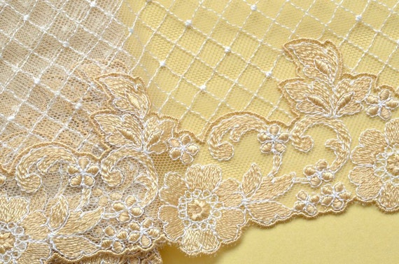 Gold Floral Lace Trim, Embroidered on Gold Lace, Venice Lace