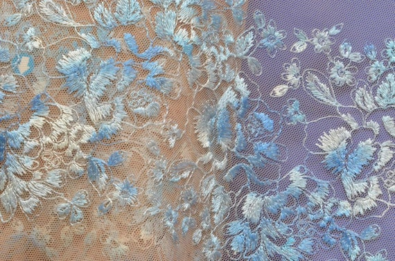 Exquisite Embroidered Blue Floral Trim, Gorgeous Shades of Blue on Tan Tulle