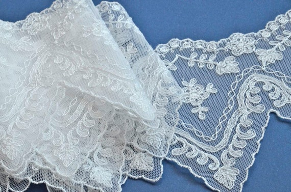 White Wedding Trim, Embroidered Floral, Victorian, Bridal Lace