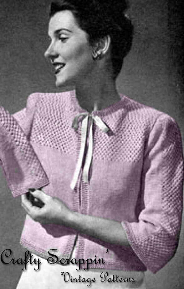 Knitting Pattern For Bed Shawl : Vintage Bed Jacket Pattern