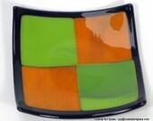 Art Glass Mid Century Modern  Dish Orange Green Black Border Four Squares