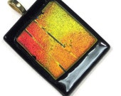 Dichroic Glass Pendant Necklace  Autumn  Sunset Yellow Orange Black