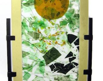 Garden Art Glass Sculpture Abstract Green Leaves Sun Rays Artist Signed