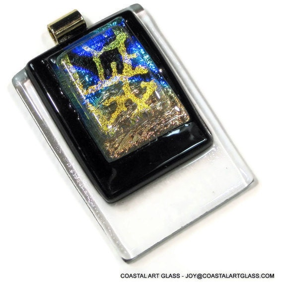 Fused Art Glass Pendant Necklace Abstract Fashion Statement