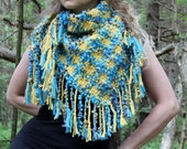 Hand Woven Shawl from Estonia, blue and yellow, bubbled yarn, unique