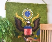 Hook Rug Tapestry Wall Hanging Patriotic American Flag Decor Mid Century Finished Completed