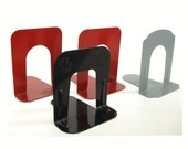 Reserved for Fredrik: 2 Red Book Ends from Vintage Bookends Industrial Red Gray Black