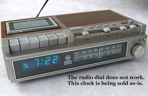 digital clock radio cassette ge general by lauraslastditch on etsy. Black Bedroom Furniture Sets. Home Design Ideas
