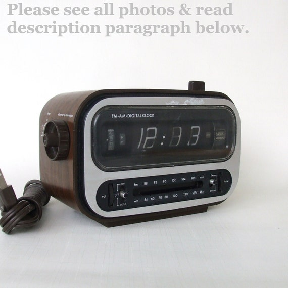 Retro Flip Clock 1970s Wood Grain Alarm Clock By