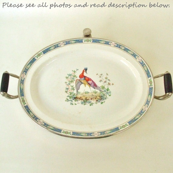 Dinner Plate Warmer ~ Antique serving dish food warmer plate server tray china bird