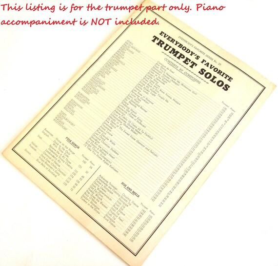 Vintage Trumpet Sheet Music Everybody Favorite Cornet Solo Songbook
