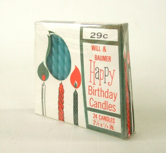 Mid Century Happy Birthday Candles Box Blue Twist Spiral Will Baumer