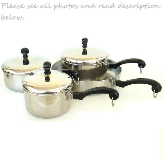 Set Farberware Cookware Aluminum Clad Stainless Pot Pan Skillet