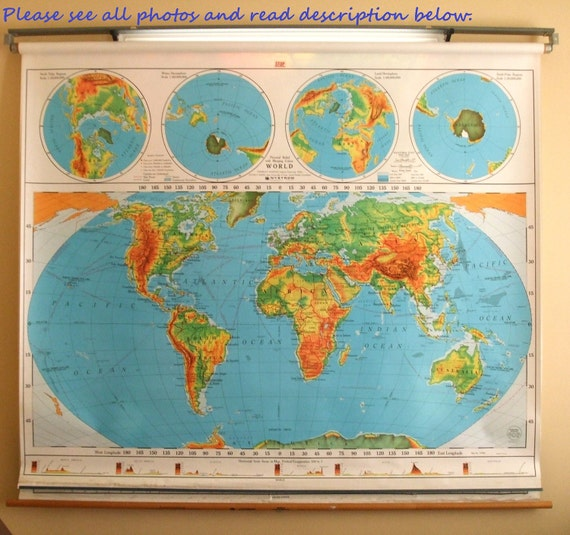 Vintage Nystrom Pull-down Map / USA / World Wall Map