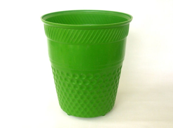 Waste Basket Trash Can Plastic 1970s Home Decor Lime Green