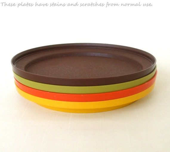Vintage Tupperware Plates 70s Orange Yellow Avocado Brown