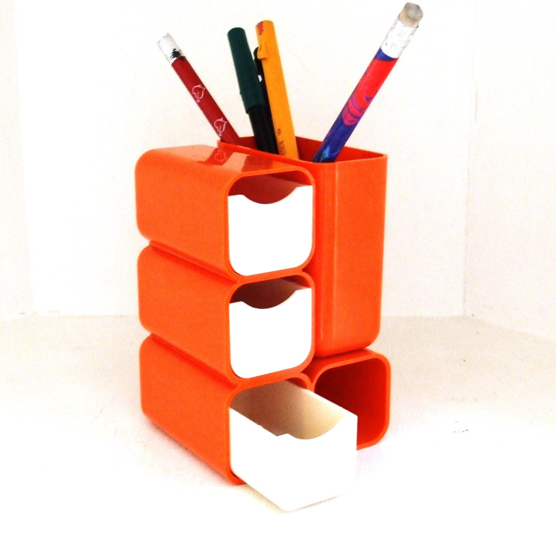 Vintage Desk Organizer Pencil Holder Mod 1980s Orange fice