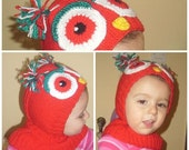 red baby owl hat, a ski mask, hat, neck strap, epaulet, 12 to 24 months of newborn-
