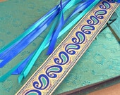 Bookmark - Paisley Art Deco Jacquard Ribbon / Blue, Aqua Teal & Gold with Satin Ribbon Tassel