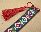 Arabesque Bookmark - Arabian Motif Repetitive Patterned Ribbon Jacquard  with Red Tassel