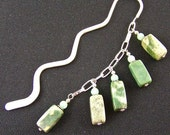 Bookmark - Green Italian Marble & Mixed Media Beads - Silver Plated Chain - Silver Plated Shepherds Hook
