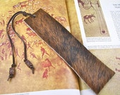 Bookmark Leather - Oversized Black & Brown Brindle Cowhide - Copper Plated Pewter Barrel Beads - Chocolate Umber Suede Leather