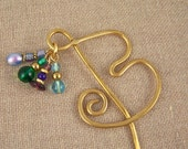 Book Mark Hand Forged Brass - Monogram Initial B - Brass & Glass Beads like Birthstone Colors