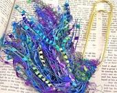 "Bookmark -  BIG 4"" Oversized Paperclip and Fancy Yarn Fiber Puff Tassel - Blue, Green & Purple Watercolor"