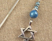 Star of David Bookmark - Chanukah - Sky Blue Miracle Beads / Silver Plated Beads - Silver Plated Shepherd Hook Page Marker