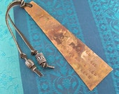 Bookmark - C. S. Lewis Hammered Engraved Copper / Torch Flame Patina - Dream Goal Inspirational Bookmark - Copper Beads & Leather Cord