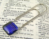 """Dichroic Bookmark 3"""" BIG Paperclip - Navy & Cobalt Striped Reeded Textured Special Effects Fused Glass"""