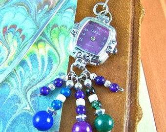 "Stopped Watch Bookmark - Violet Faced ""Time Stands Still"" Watch Head / Blue Green Purple Mixed Media Beads - Silver Plated Shepherd Hook"