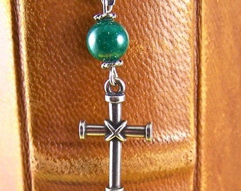 Bound Cross Bookmark - Emerald Colored Bead - Silver Plated Bead and Silver Plated Shepherds Hook Page Marker