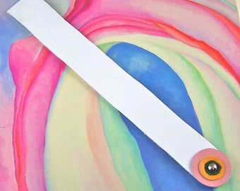 Leather Circles Book Mark - White Pink Yellow Green