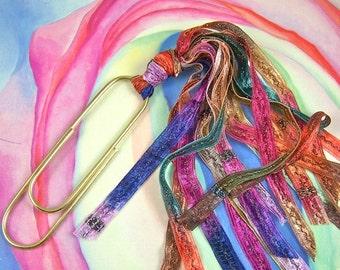 "BIG 4"" PaperClip Bookmark - Rainbow Novelty Yarn Ribbon"