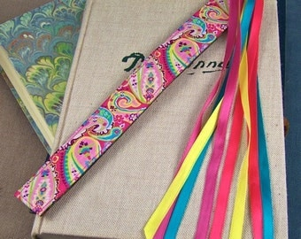 Ribbon Bookmark - Floral Paisley Theme Jacquard - Pink, Teal, Green, Red & Yellow - Satin Ribbon Tassel