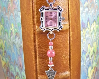 Stopped Watch Bookmark - Time Stands Still Pink Face / Silver Plated Pewter and Mauve Beads