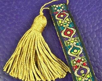 Ribbon Bookmark -  Royal Arabian Motif Jacquard Fabric Book Mark with Gold Tassel