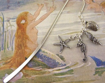 Book Mark - Silver Plated Pewter Sea Life Beads: Abalone, Seahorse, Shell, Starfish / Silver Shepherds Hook Page Marker