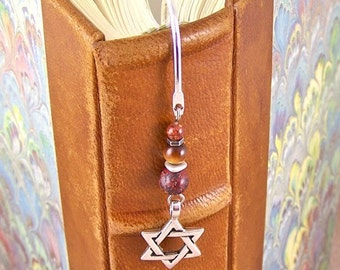 Star of David Bookmark - Chanukah - Natural Stone & Tiger Eye Beads - Silver Plated Shepherd Hook Page Marker