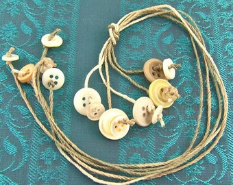 Vintage Button Bookmark - Hemp Cord String Thong - Neutral Natural Tan Beige White Birch Bone Colored Plastic Buttons